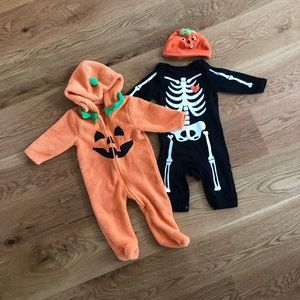 Pumpkin and Skeleton Halloween Costume Bundle